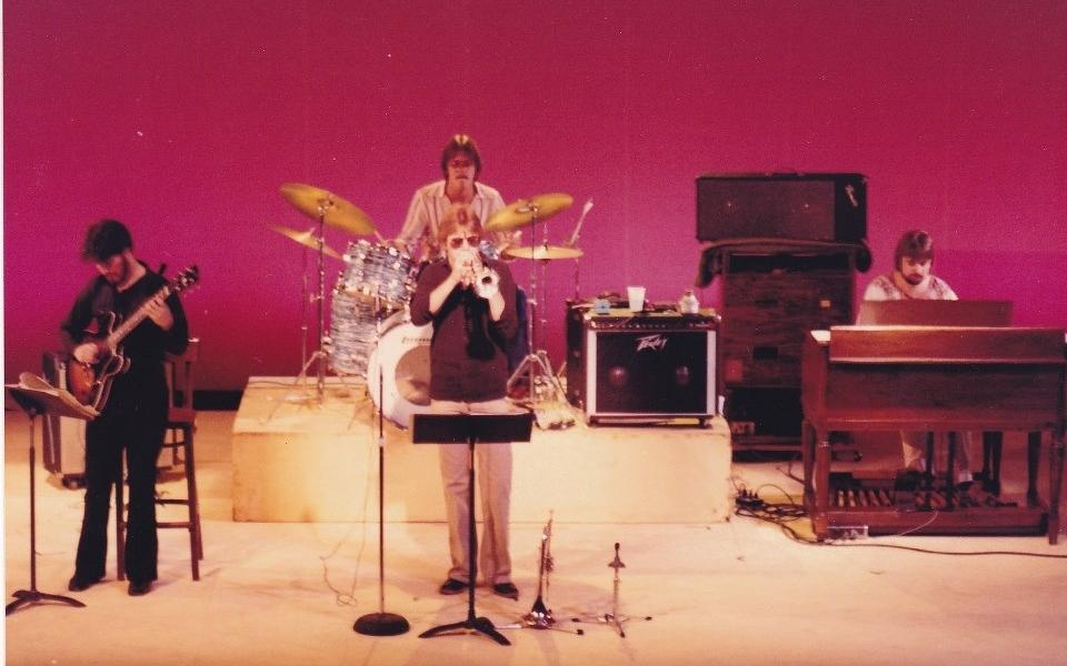 Pine Orchard Jazz Festival Woodstock, New York 1982 L-R Mike Silvestri gtr, Steve Babcock-Dr, Dave Love-tr, Eric Scortia B-3 Org