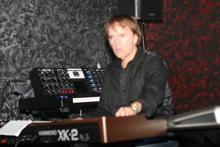 Playing the portable Hammond and the Moog