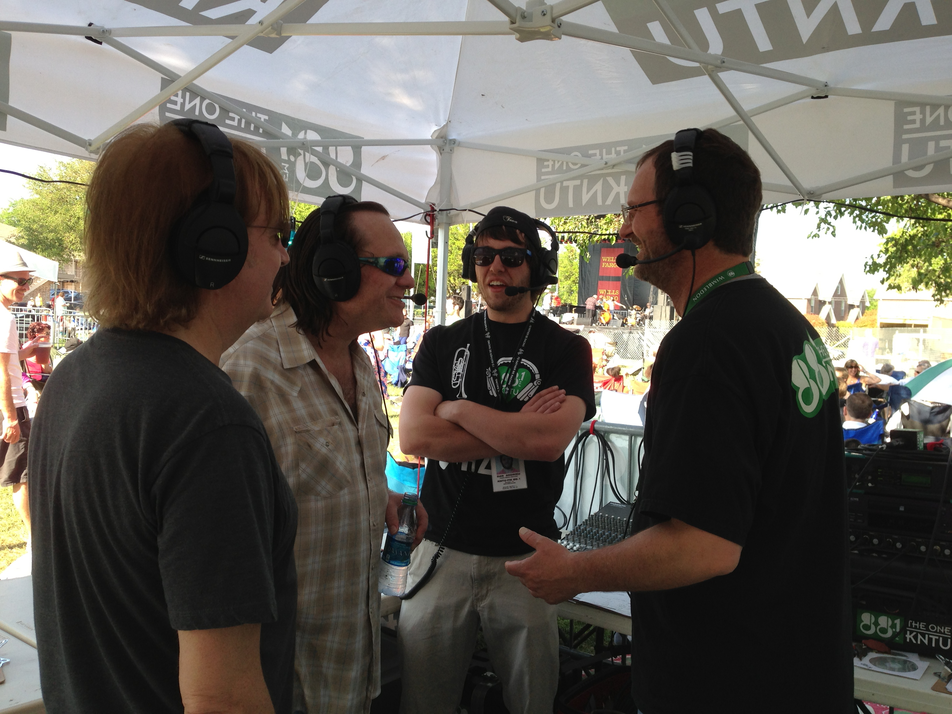 Radio Interview, L-R Eric Scortia, Clint Strong, KNTU DJ, Station Manager-Mark Lambert